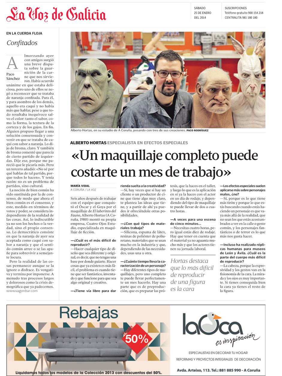 Fecha: 2014/01/25. La Voz de Galicia. Edición de A Coruña. Secci